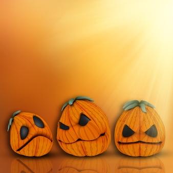 3d визуализации фона хэллоуина с милой тыквы