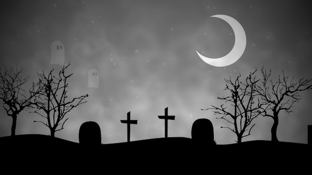 Halloween background with the ghosts in cemetery. happy holiday abstract backdrop. luxury and elegant style 3d illustration for holiday template