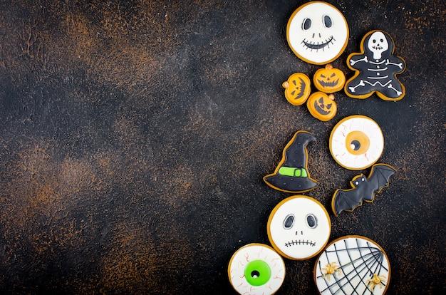 Хэллоуин фон с пряниками, тыквой, конфетами