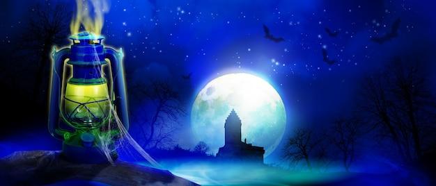 Фон хэллоуина с кладбищем в жуткую ночь.
