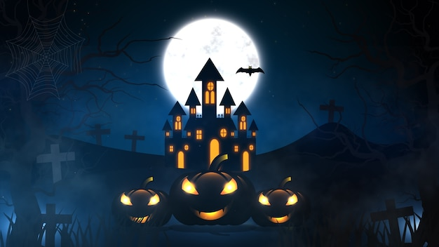 Halloween background with haunted house, bats and pumpkins