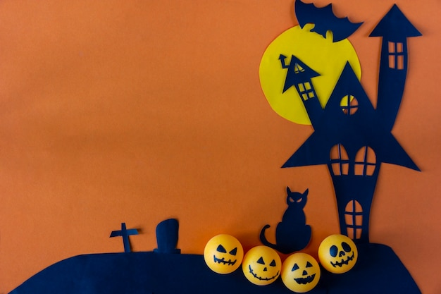 Halloween background with haunted house castle