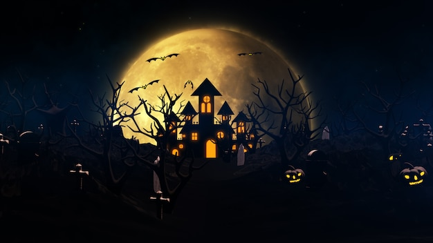 Halloween background with haunted house, ghost, bats and pumpkins