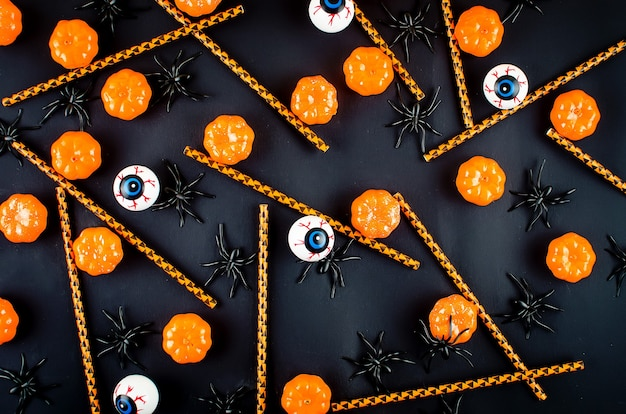 Halloween background with many pumpkin