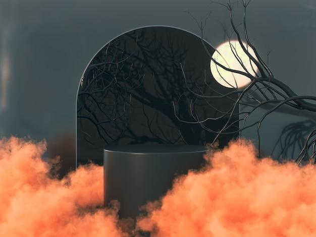 Хэллоуин фон с продуктовой подставкой 3d-рендеринга