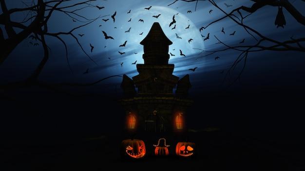 Il rendering 3d di uno sfondo di halloween con zucche e il castello spettrale