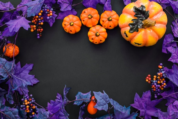 Halloween background with purple leaves