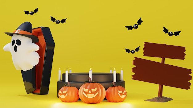 Halloween background with realistic podium