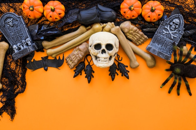 Хэллоуин фон с черепом и пауком