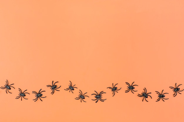 Halloween background with the spiders on orange background.