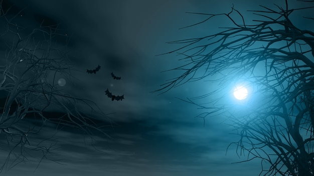 Halloween background with spooky trees against a moonlit sky