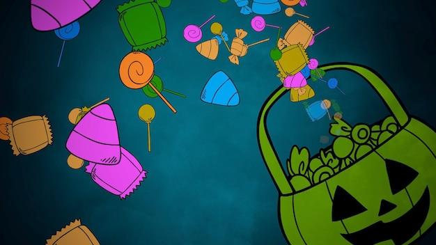 Предпосылка хеллоуина с корзиной конфет. с праздником абстрактный фон. роскошный и элегантный стиль 3d иллюстрации для праздничного шаблона