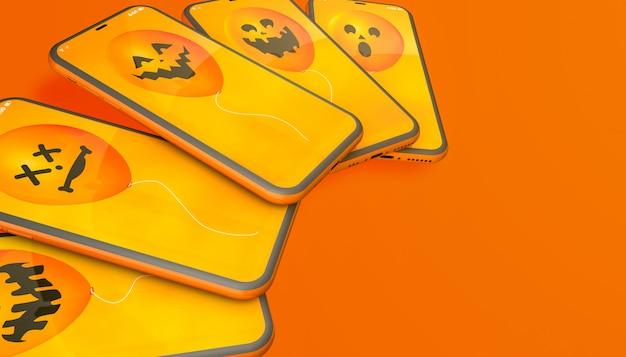 Halloween balloons on orange background