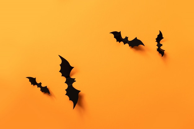Halloween banner with black bats on an orange surface, top view.