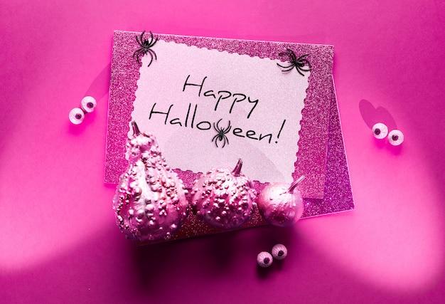 Открытка на хэллоуин с пауками и глазами