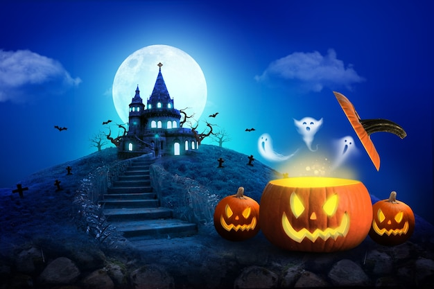 ハロウィーンの城と満月のバナーまたはポスターの背景の青いトーン