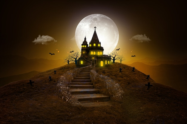 Halloween castle and a full moon  banner or poster background