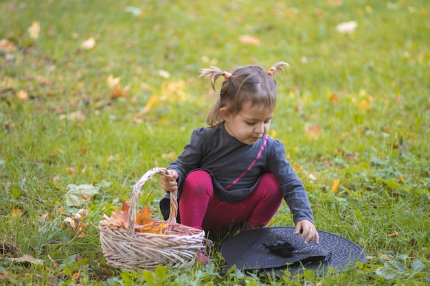 Halloween celebration cute toddler girl in black dress playing with witch hat on green lawn with