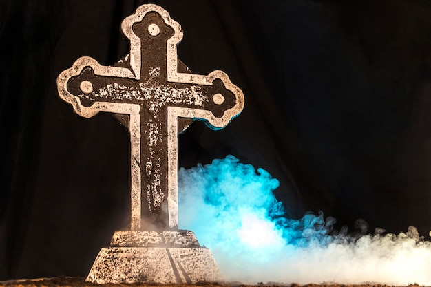 Halloween celebration with scary cross