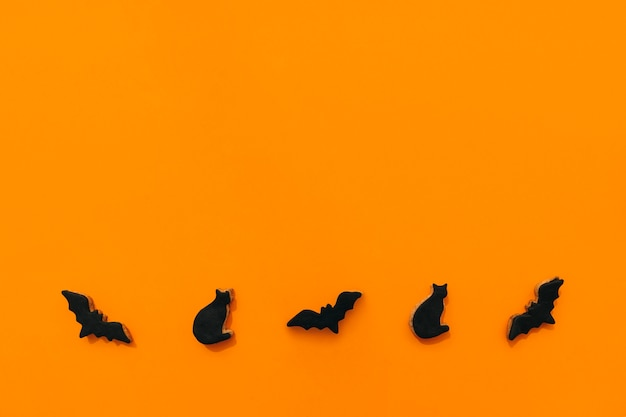 Halloween composition with animal cookies