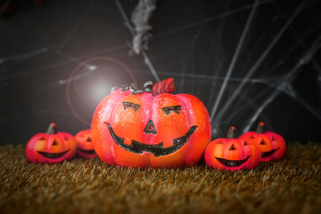 Halloween composition with evil pumpkins