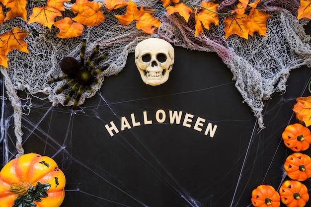 Halloween composition with letters