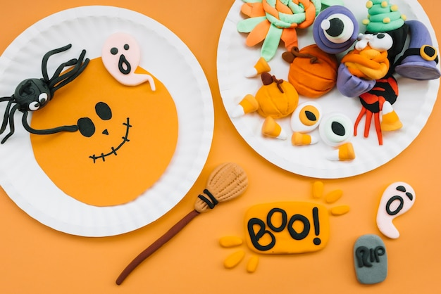 Halloween composition with plasticine figures