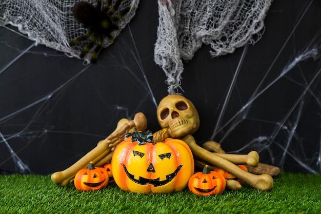Halloween composition with pumpkin decoration
