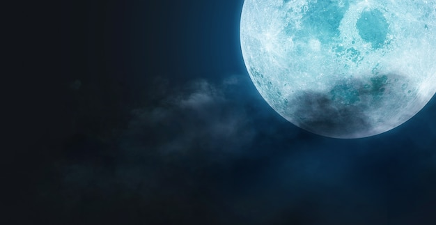 Halloween concept, backgrounds night sky with full moon and clouds. elements of this image furnished by nasa