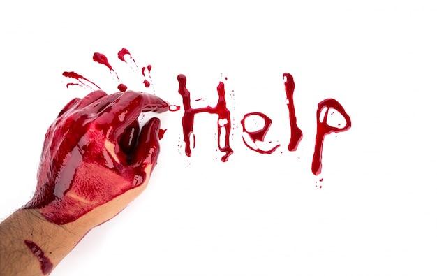 Концепция хэллоуин: кровотечение руки на белом фоне