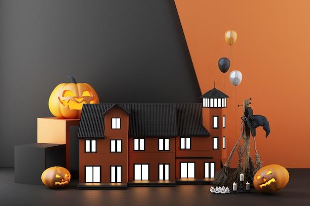 暗い黒の背景に風船とキャンドルに囲まれた、輝くカボチャの頭、魔女のほうきでライトが点灯している家のハロウィーンのコンセプト。 3dレンダリング