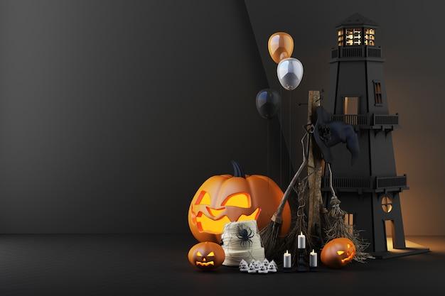灯台のハロウィーンのコンセプト。ライトが点灯し、カボチャの頭が光っています。魔女のほうきは、暗い黒の背景にクモとキャンドルで囲まれています。 3dレンダリング
