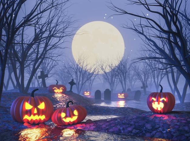 Хэллоуин концепция джек o фонарь тыква в кладбище ночью 3d визуализации