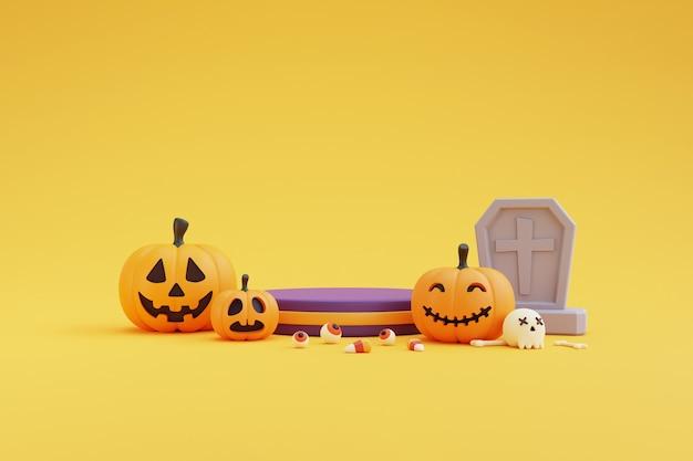 ハロウィーンのコンセプト、カボチャのキャラクター、墓石、眼球、頭蓋骨、骨、キャンディー、黄色の背景の製品表示のための表彰台。3dレンダリング。