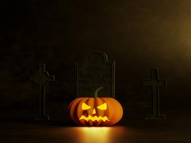 Хэллоуин концепции тыквы на черном фоне 3d визуализации, украсить могильный камень