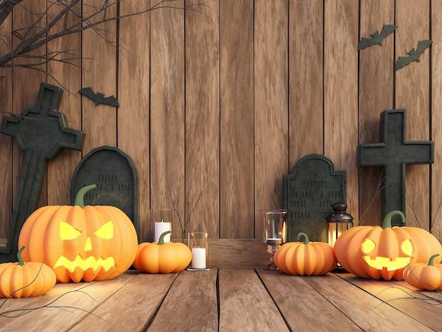 Хэллоуин концепция тыква на фоне старой доски 3d визуализации