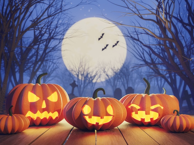 Хэллоуин концепция тыква на старой деревянной доске в кладбище ночью 3d визуализации