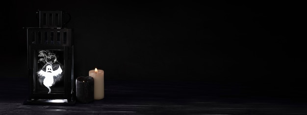 Halloween concept, scary ghost in an old lantern, restless spirit and candles on a black background.