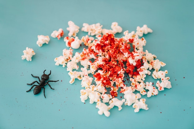 Halloween concept with bloody popcorn