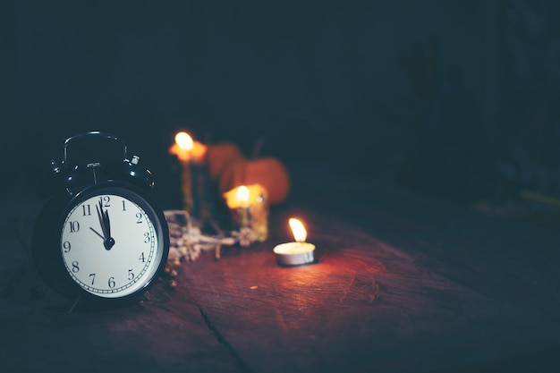 Halloween concept with clock, time