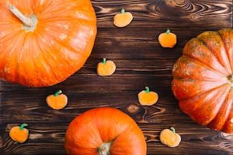 Halloween cookies with orange pumpkins