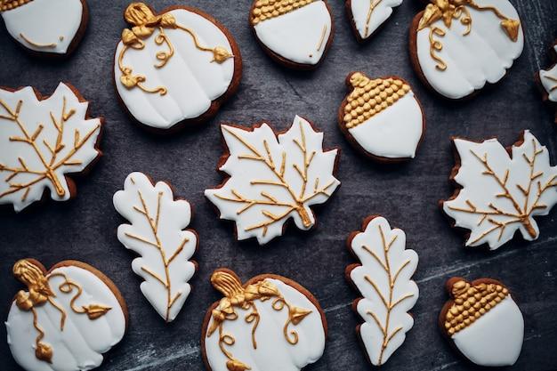 Halloween cookies on a wooden board