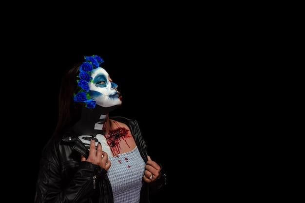 할로윈 의상과 메이크업 calavera catrina zombie의 초상 여자의 초상