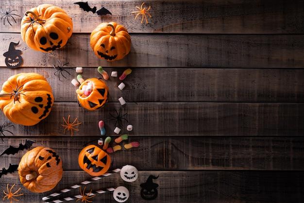 Halloween crafts on dark wooden background