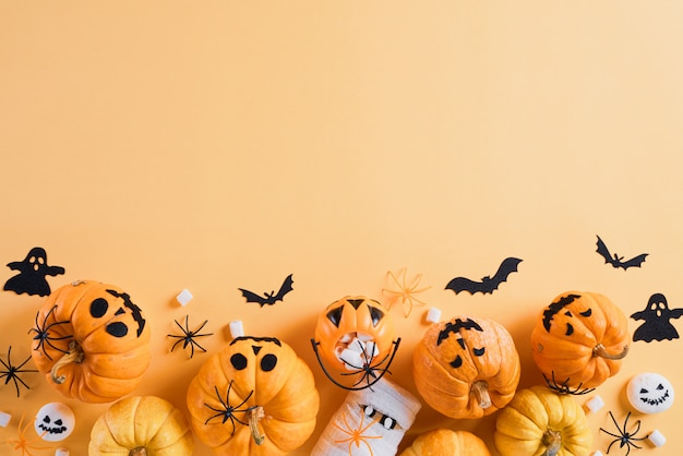 Halloween crafts on orange background