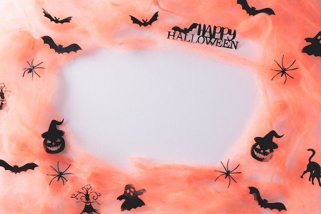 Halloween crafts on white with copy space.