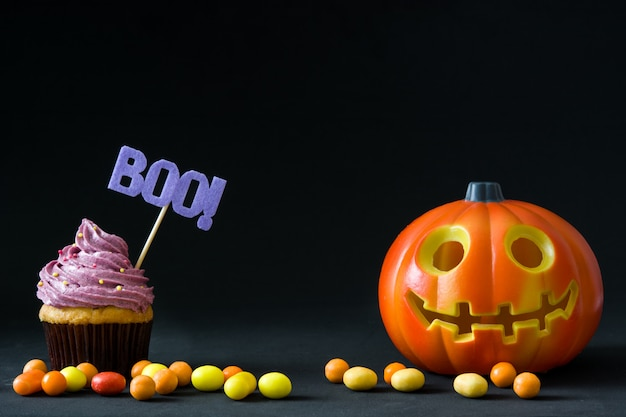Halloween cupcake and halloween pumpkin