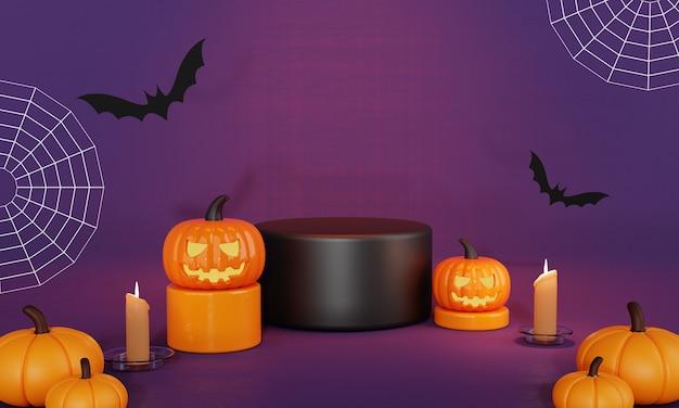 Оранжево-черный день хэллоуина с тыквой и летучими мышами, подиумная сцена и фон при свечах