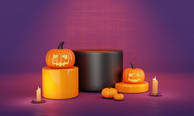 День хэллоуина оранжево-фиолетовый продукт из тыквы на подиуме и жуткий фон при свечах