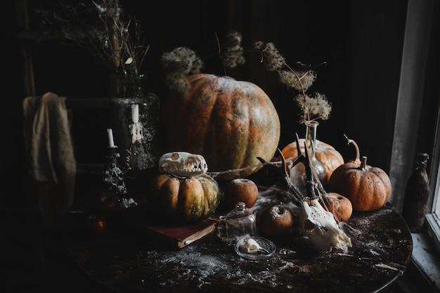 Halloween decor. 4k wallpaper. old pumpkins, pomgranates, apples